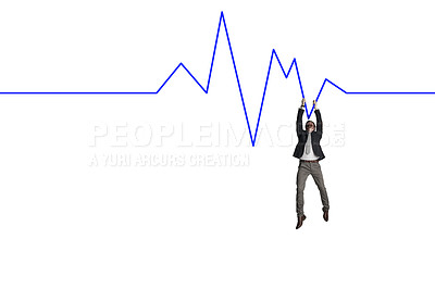 Buy stock photo Shot of a businessman hanging onto a graph against a white background