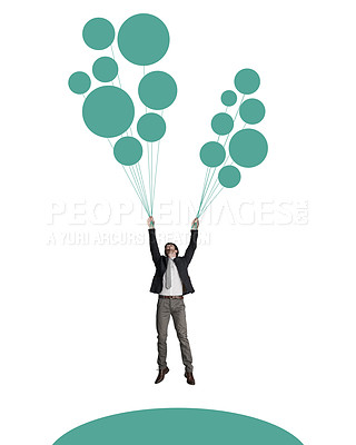 Buy stock photo Shot of a businessman holding on to a bunch of balloons  against a white background