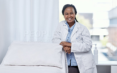 Buy stock photo Portrait of a young doctor working in a hospital