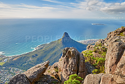 Buy stock photo Table mountain and Lions Head, Cape Town, Western Cape