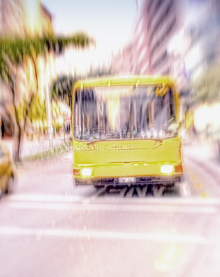 Buy stock photo A lens blurred photo of a city bus