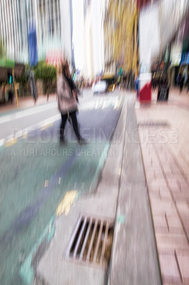 Buy stock photo A photo of motion blurred city life