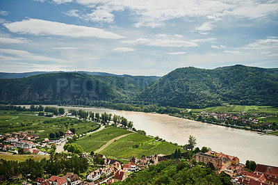 Buy stock photo Shot of the town of Melk in Austria along the Danube River