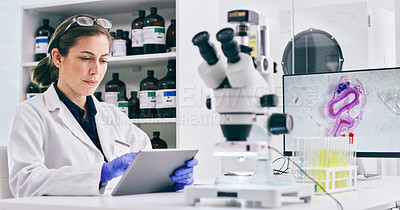 Buy stock photo Shot of a young woman using a digital tablet while working in a lab