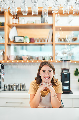 Buy stock photo Portrait of a confident young woman working in a cafe