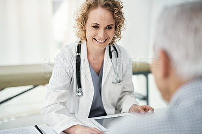 Buy stock photo Cropped shot of a doctor at work in her office