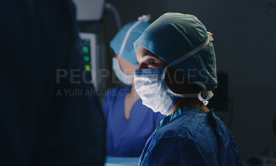 Buy stock photo Portrait shot of a female medical nurse wearing PPE in theatre
