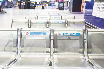 Buy stock photo Shot of the benches at the airport