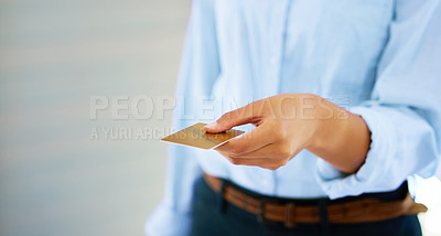 Buy stock photo Shot of someone giving a credit card to make a purchase