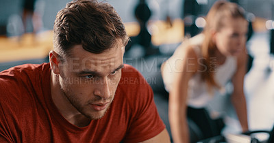 Buy stock photo Cropped shot of a sporty young man at the gym