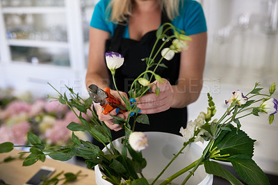 Buy stock photo Shot of an unrecognizable woman pruning the flowers at her job in a floral store