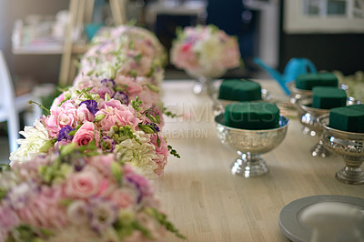 Buy stock photo Shot of a flower shop with a variety of beautiful flowers