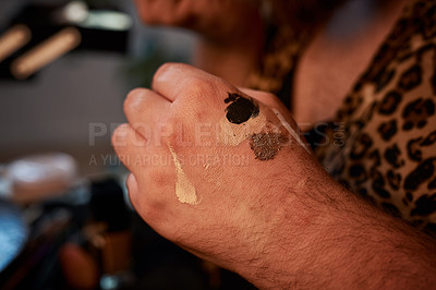 Buy stock photo Cropped shot of the hand of an unrecognizable man's hand in a studio