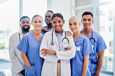Buy stock photo Shot of a diverse group of medical professionals in a hospitals