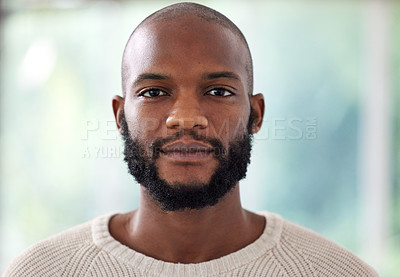 Buy stock photo Headshot of a young man at home