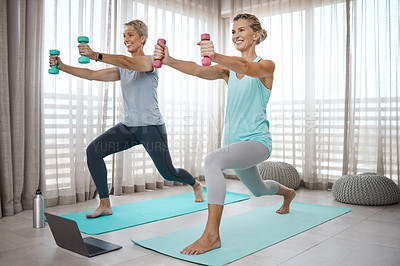 Buy stock photo Shot of two mature women following an exercise tutorial on a laptop while exercising together at home