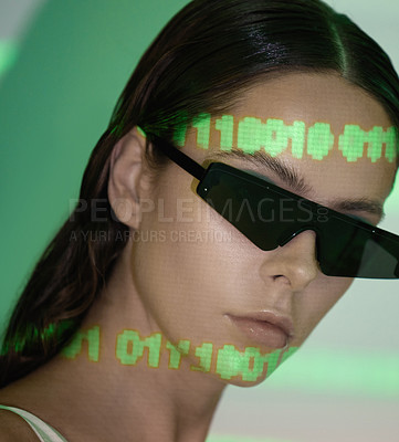 Buy stock photo Studio shot of a beautiful woman wearing sun glasses against a white background