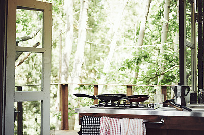 Buy stock photo Shot of the kitchen in a cabin