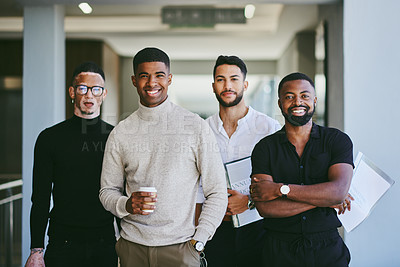 Buy stock photo Portrait of a group of businessmen standing in an office