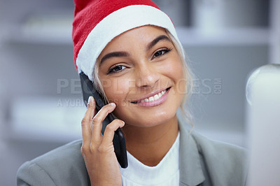 Buy stock photo Portrait of a happy young woman enjoying a phone call at the office