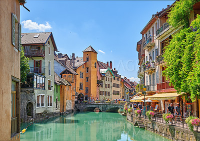 Buy stock photo Annecy, France, July, 17, 2019: Houses and street life in the famous medieval part of the city of Annecy, Department of Upper Savoy, France.Editorial: Annecy, France, July, 17, 2019: Houses and street life in the famous medieval part of the city of Annecy, Department of Upper Savoy, France.