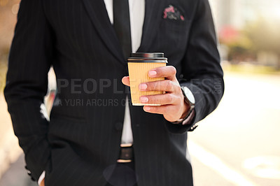 Buy stock photo Shot of a businessman enjoying a cup of coffee