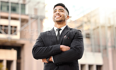 Buy stock photo Shot of a businessman with his arms crossed