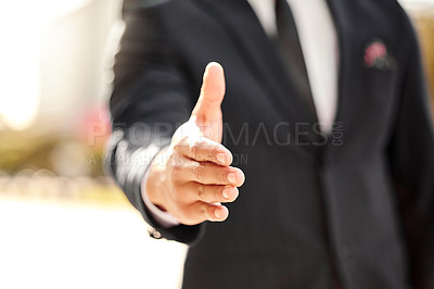 Buy stock photo Shot of a businessman ready to shake hands