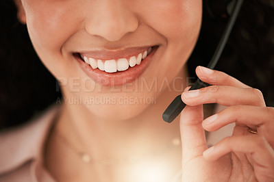 Buy stock photo Closeup shot of an unrecognizable call center agent at work