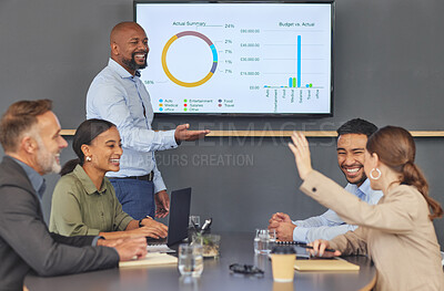 Buy stock photo Shot of a group of businesspeople having a meeting in a boardroom at work