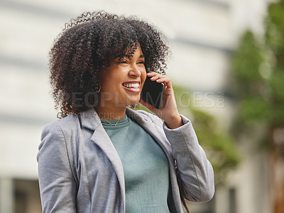 Buy stock photo Shot of a young businesswoman using her smartphone to make a phonecall
