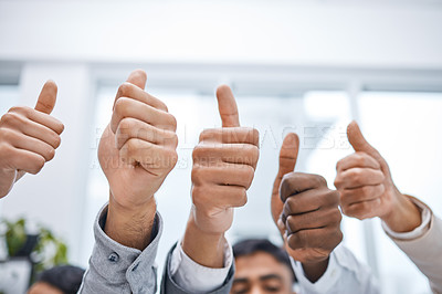 Buy stock photo Shot of a group of businesspeople showing thumbs up