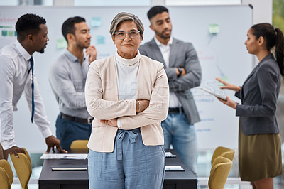 Buy stock photo Portrait of a mature businesswoman standing with her arms crossed in an office with her colleagues in the background