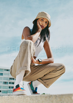 Buy stock photo Shot of a young woman spending a day in the city